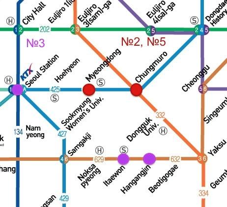 Карта ближайших станций метро на башню Намсан