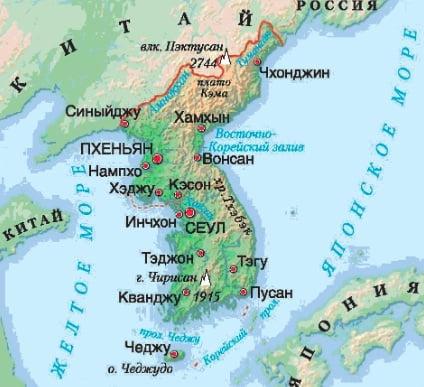 Расположение Кореи