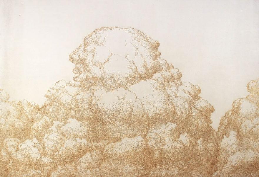 Облака, техника пуантилизм